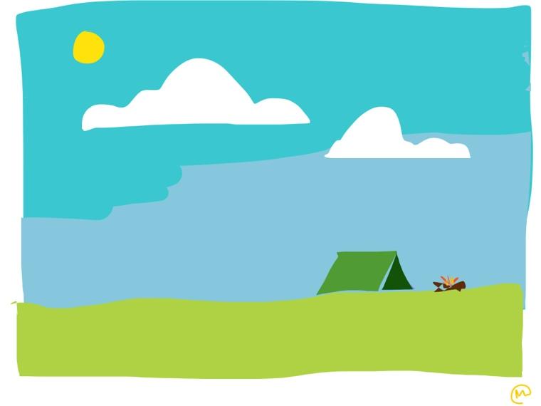 Camping Trip Daytime Illustration