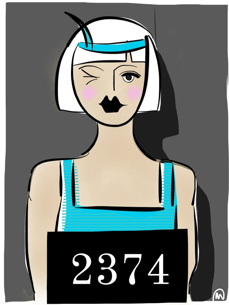 Flapper Mugshot Illustration