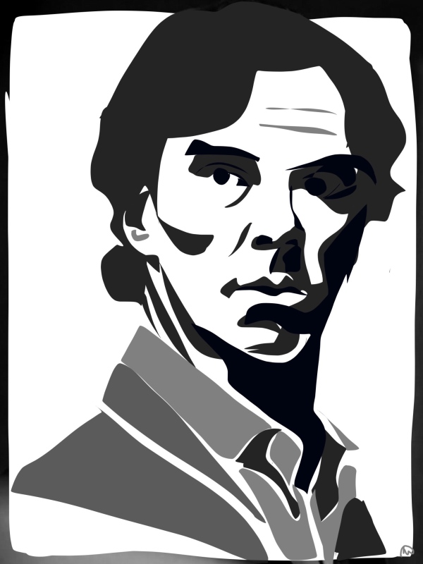 Sketch of Benedict Cumberbatch as Sherlock