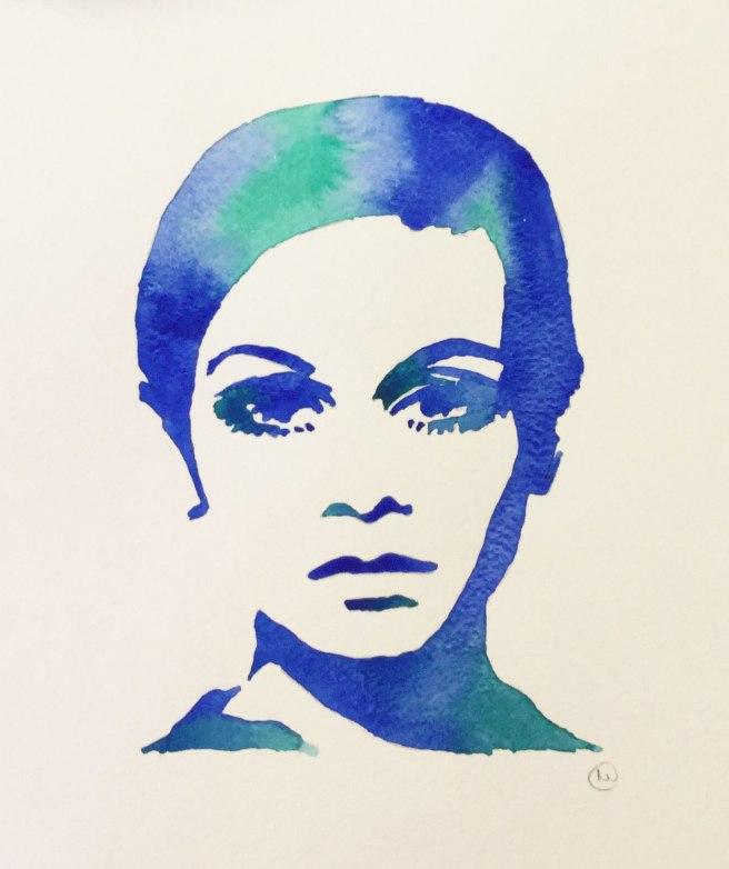 Twiggy 1960s mod art painting